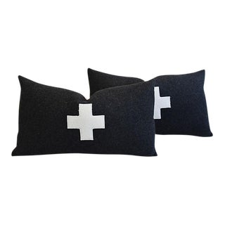 "24"" X 14"" Custom Tailored Charcoal Appliqué Cross Wool Feather/Down Pillows - Pair"