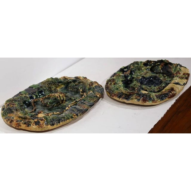 19th Century French Barbotine Hand Painted Majolica Palissy Platters - A Pair - Image 2 of 11