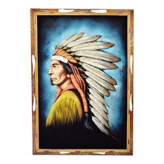 Vintage Carved Wood Framed Indian Chief Painting on Velvet - Artist Signed For Sale