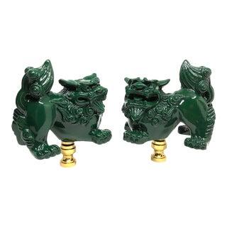 Modern Chinoiserie Green Foo Dog Lamp Finials- A Pair For Sale