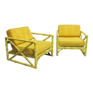 Mid-Century Yellow Faux Bamboo Club Chairs - a Pair For Sale