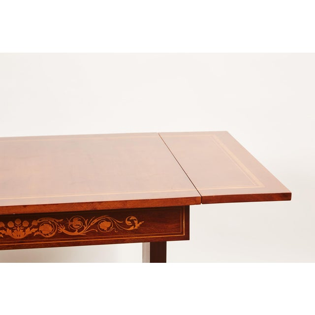 19th Century Danish Mahogany Empire Drop Leaf Table with Intarsia Inlay For Sale - Image 4 of 9