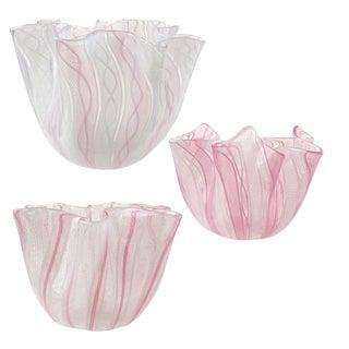 Venini Bianconi Murano Pink Italian Art Glass Fazzoletto Handkerchief Vases For Sale