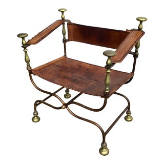 Iron and Bronze Savonarola Chair For Sale