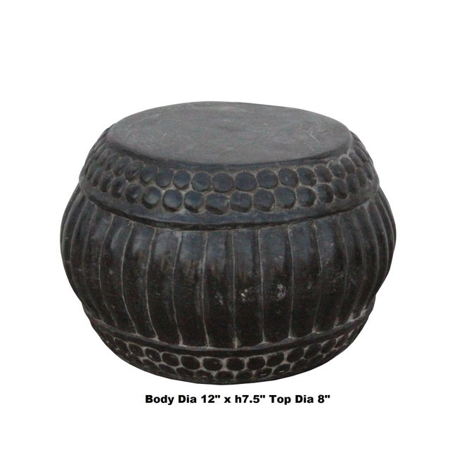 This is a hand-carved Chinese accent decorative display stand table made of stone. The stone has mixed of gray dusty color...