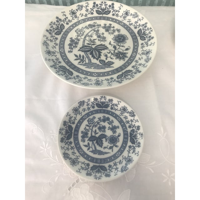 Asian Blue Onion Hand Painted Dinnerware - Service for 3 For Sale - Image 3 of 10