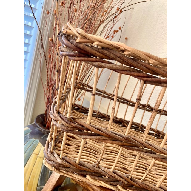 Brown Crisscross Open Weave Handwoven Rattan & Willow Basket by Three Hands - Circa 1990 For Sale - Image 8 of 13