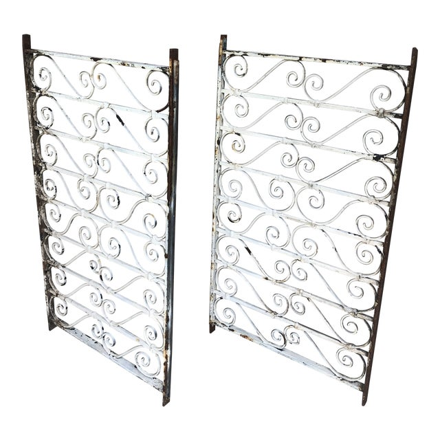 19th Century Victorian Wrought Iron Balustrade Sections - a Pair For Sale