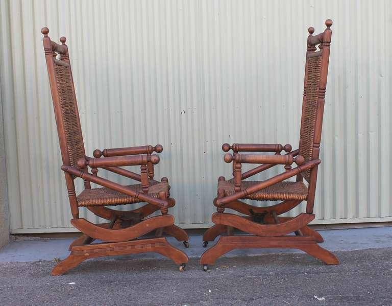 Pair Of Rustic 19th Century Platform Rocking Chairs For Sale In Los Angeles    Image 6