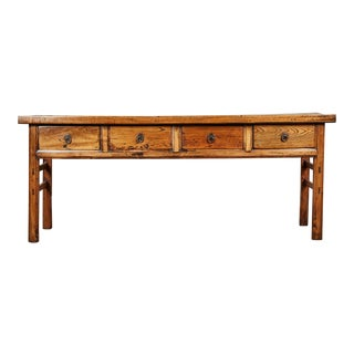 19th C. Chinese Elm Four Drawer Altar Table For Sale