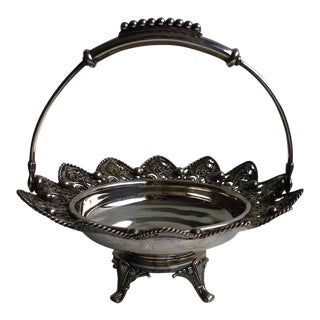 Early 20th Century Antique Silver-Plated Repoussé Brides Basket For Sale