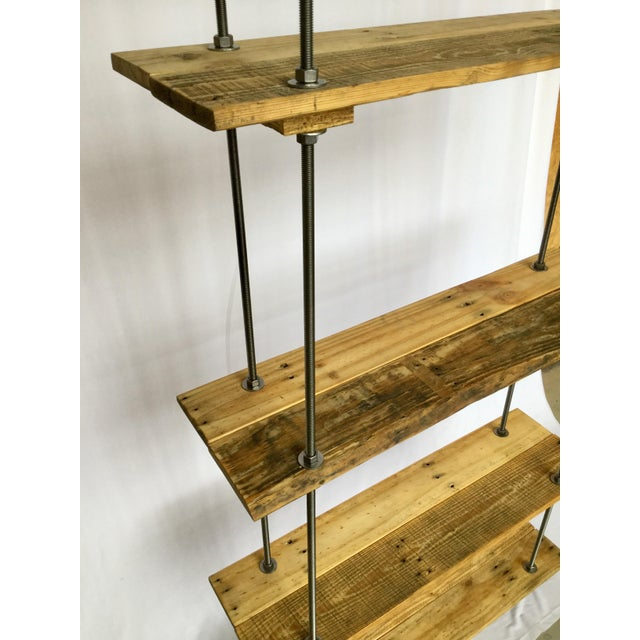 Bauhaus Industrial Tall Recycled Wood and Metal Rod Adjustable Bookcase Shelf For Sale - Image 3 of 12
