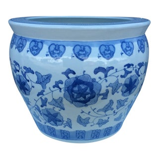 Late 20th Century Blue & White Chinese Porcelain Planter / Jardiniere For Sale