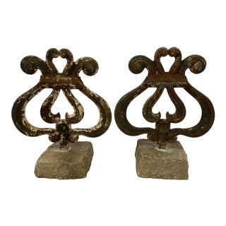 English Metal Finials With Stone Bases, Pair For Sale