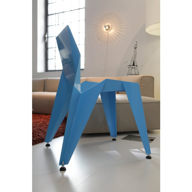 Metal Origami Inspired Edge Blue Chair | Indoor & Outdoor Chair For Sale - Image 7 of 8