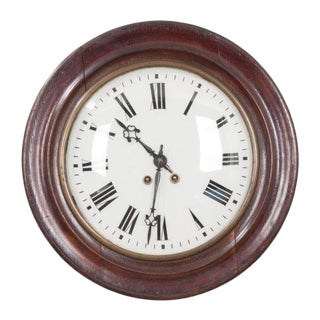 English 19th Century Round Oak Wall Clock For Sale
