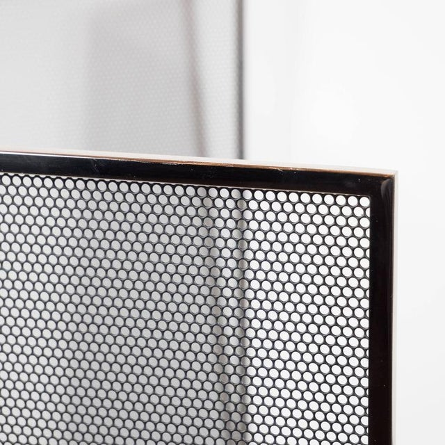 Modern Custom Polished Nickel and Mesh Adjustable Three-Panel Fire Screen For Sale - Image 3 of 8