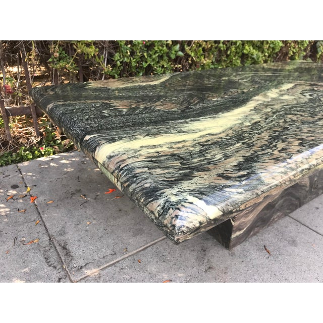 Black 1970s Organic Modern Solid Black & Cream Marble Coffee Table For Sale - Image 8 of 10
