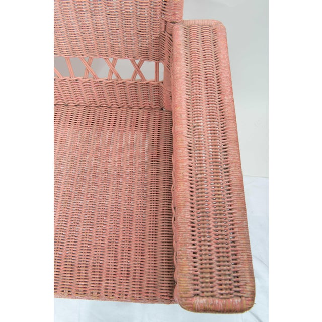 1950s 1950s Boho Chic Pink Rattan Settee or Love Seat For Sale - Image 5 of 11