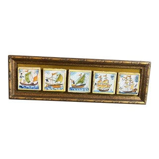 Antique French Quimper Ceramic Art Tiles in Frame For Sale