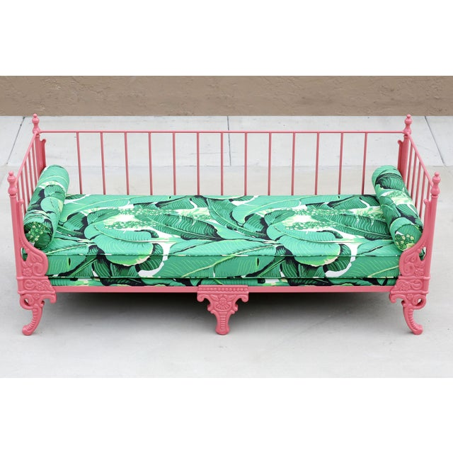 1940's French Iron Daybed - Newly Professionally Restored, Sandblasted and Powder Coated in a gorgeous Blush/Guava color....
