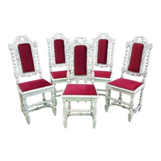 Unique Set of Five Shabby Chic Baroque Jacobean Style Vintage French Country White Oak High Back Burgundy Red Velvet Dining Chairs For Sale