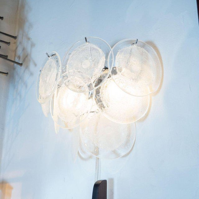 Modernist 9-Disc Hand Blown Murano Clear and Translucent Glass Sconces - a Pair For Sale - Image 4 of 5