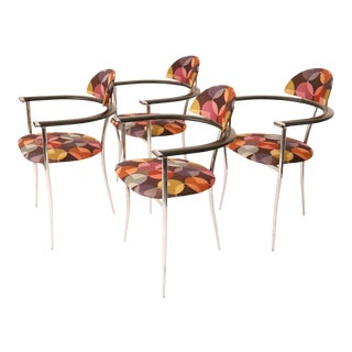 Modern Italian Arrben Multi Colored Fabric Chrome Armchairs - Set of 4 For Sale