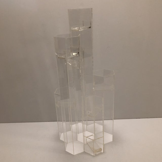 Art Deco Mid Century Van Horn Hayward Lucite Skyscraper Sculptural Candleholder For Sale - Image 3 of 9