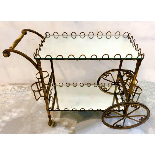 Hollywood Regency Hollywood Regency Italian Gilt Metal Bar Cart For Sale - Image 3 of 6