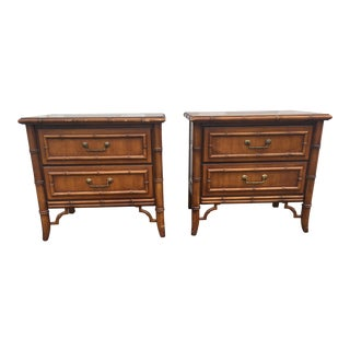 1970s Hollywood Regency Faux Bamboo Dixie Night Stands - a Pair For Sale