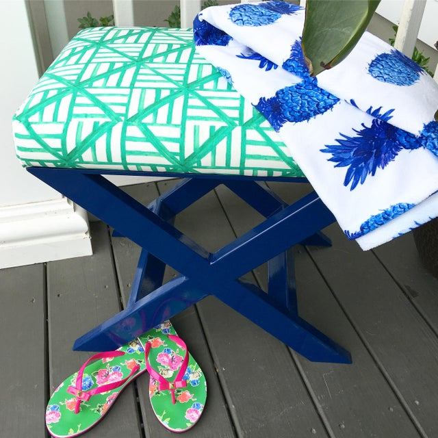 Art Nouveau Taylor Burke Home Navy X Brooke Wright Designs Bench For Sale - Image 3 of 3