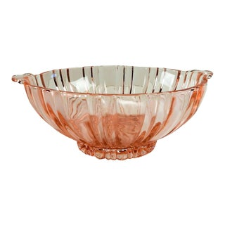 Pink Depression Glass Serving Bowl For Sale