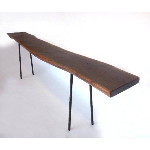 One of a kind black walnut live edge console with hand-forged iron legs. Gorgeous wood! Narrow profile. Elegant, modern ,...