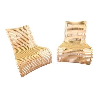 Modern Slatted Cream Vinyl Outdoor Chairs - a Pair