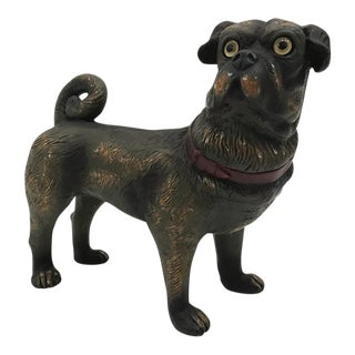 Vintage Painted Ceramic Pug Dog For Sale