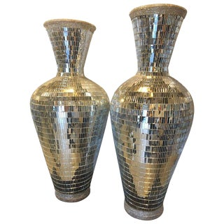 Monumental Art Deco Style Micro Mosaic Mirrored Over Clay Urns - A Pair For Sale