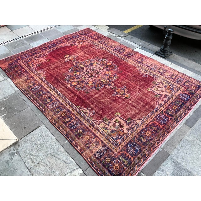Antique Handwoven Turkish Red Wool Oversize Rug - 7′1″ × 9′10″ For Sale - Image 6 of 9
