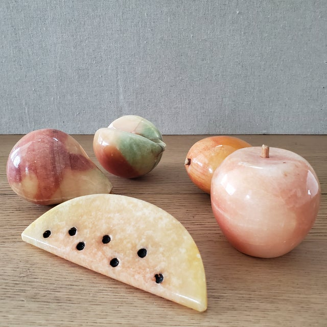 Mid 20th Century Italian Marble Fruit, 5 Piece For Sale - Image 5 of 6