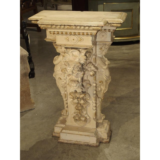 Antique Painted Napoleon III Wall Console Pedestal, Circa 1860 For Sale - Image 13 of 13
