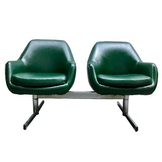 Mid-Century Modern Dark Green Leatherette Tandem Seat For Sale