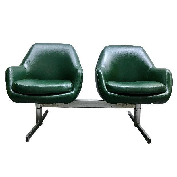 Mid-Century Modern Dark Green Leatherette Tandem Seat For Sale