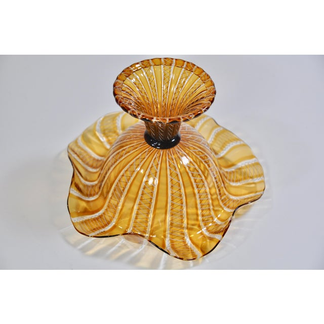Art Deco Vintage Salviati Attributed Murano Glass Compote For Sale - Image 3 of 5
