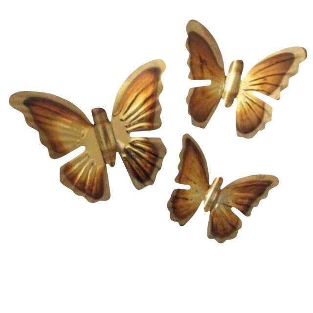 1970's Brass Hanging Butterflies - Set of 3 - Image 1 of 2