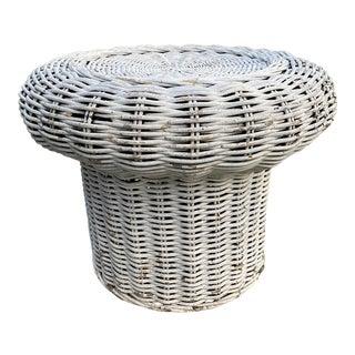 1960s Mid Century Modern Wicker Mushroom Table For Sale