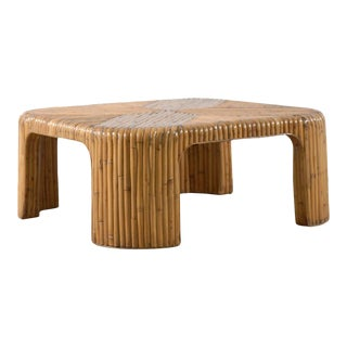 Lovely Vintage Bamboo Coffee Table with Waterfall Corners For Sale