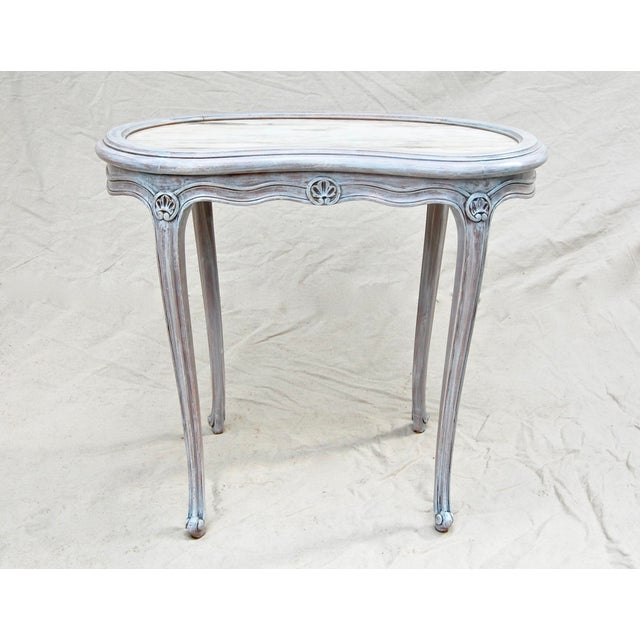 French Kidney Shape Marble Top Table For Sale - Image 11 of 12