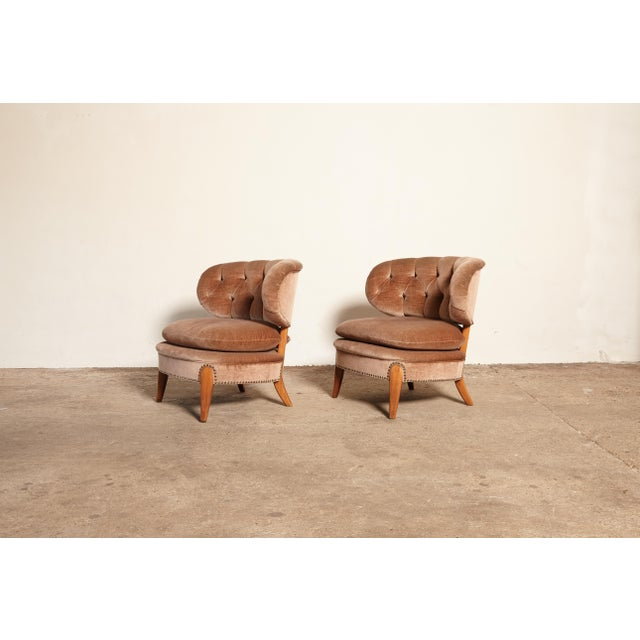 Mid 20th Century Pair of Otto Schulz 'Schultz' Easy Chairs, Sweden, 1940s-1950s For Sale - Image 5 of 11