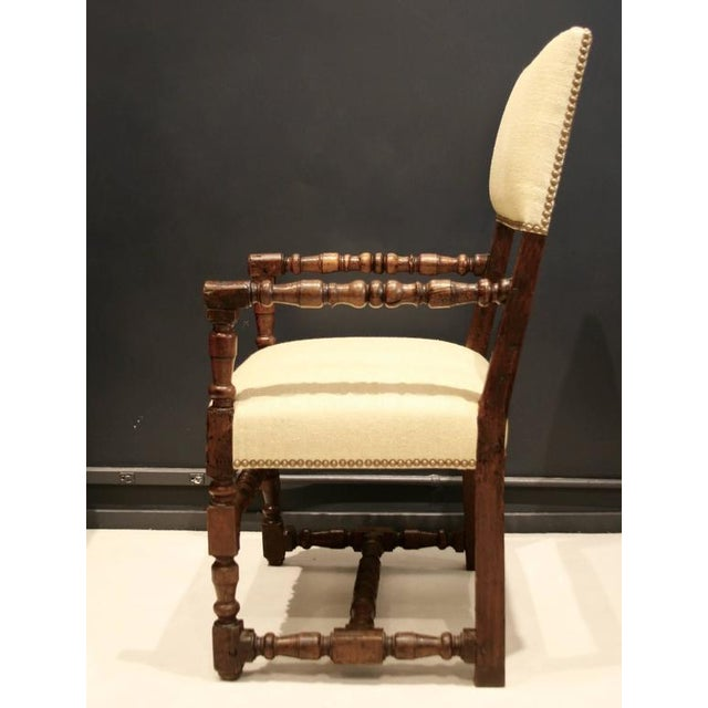 17th Century Flemish Walnut & Raw Silk Upholstered Elbow Chairs - A Pair - Image 6 of 9