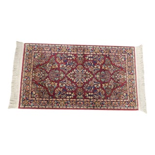 Karastan Red Sarouk #785 Rug 5' x 2' Multicolor Area Throw Rug For Sale